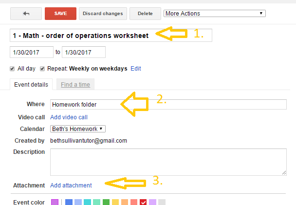 How to Use Google Calendar as Your Homework Planner – Part 2